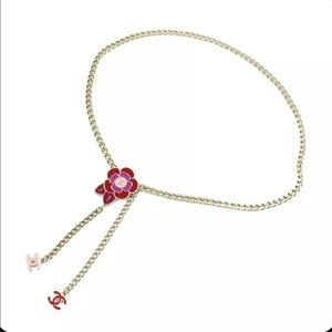 """Chanel Camellia Chain Belt Necklace CC Gold Heavy Link Red and Pink detail 39.4"""""""